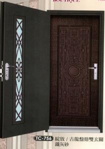 鑄板壓花玄關門1