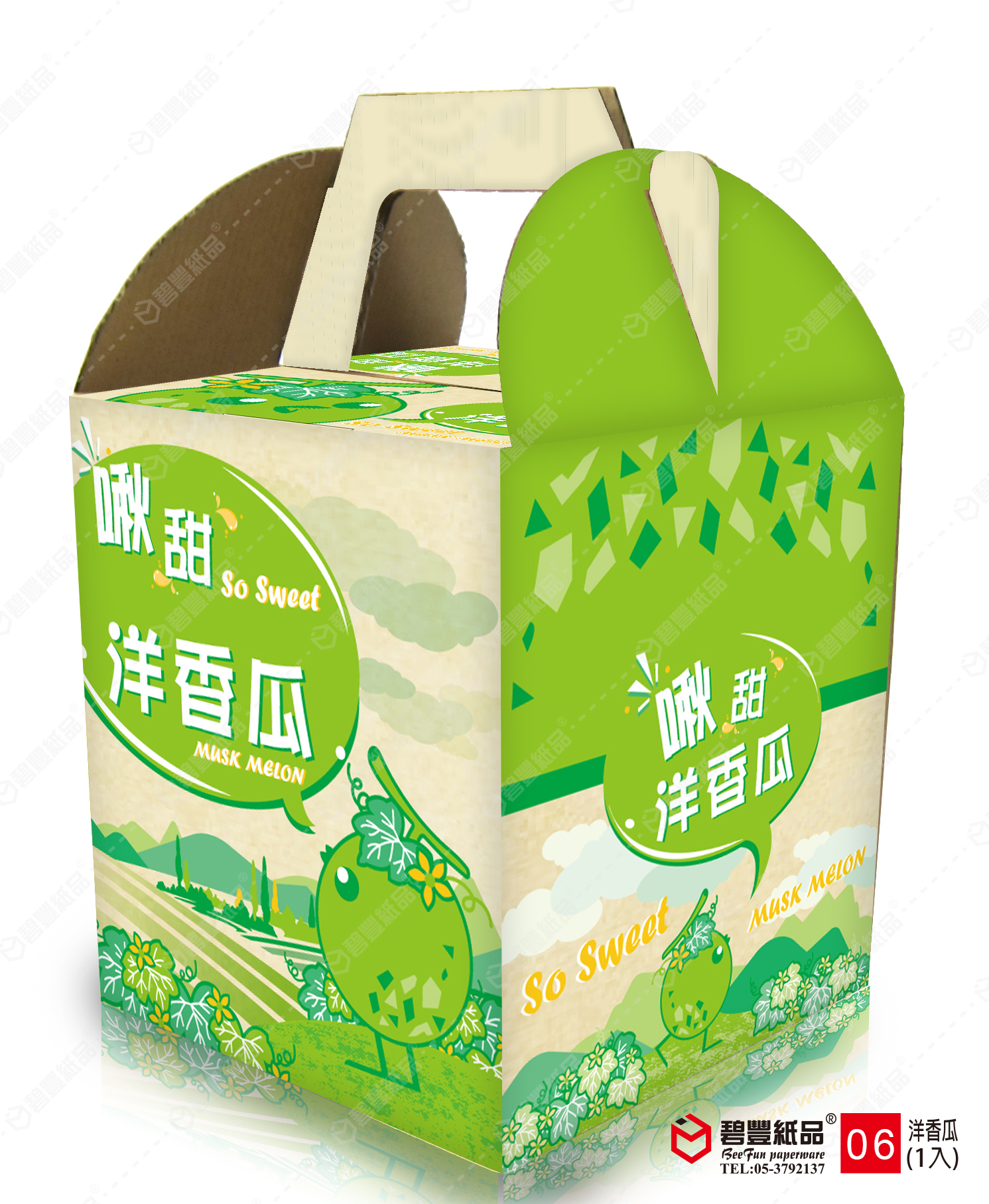 碧豐-洋香瓜單入手提式禮盒-6號
