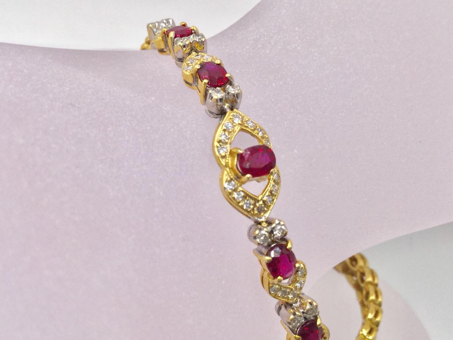 天然無燒 紅寶石 750 黃K金 鑽石手鍊 紅寶5P約1.65克拉 鑽石46P 合計1.02克拉 重9.39克 $20000
