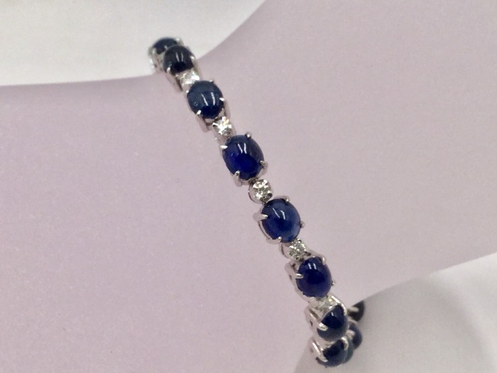 錫蘭 藍寶石 鑽石 手鍊 藍寶石25P 單顆50分共12.5克拉 鑽石25P單顆5分共125分750白K $29800