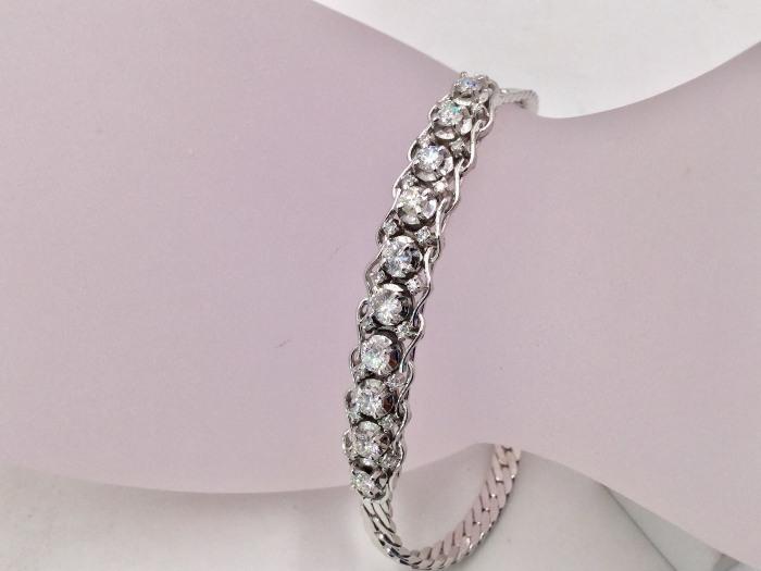 585 白K金 鑽鍊 主石10P 8~12分 合計約一克拉 配鑽20P 單顆約1.5分 總重量11.21公克
