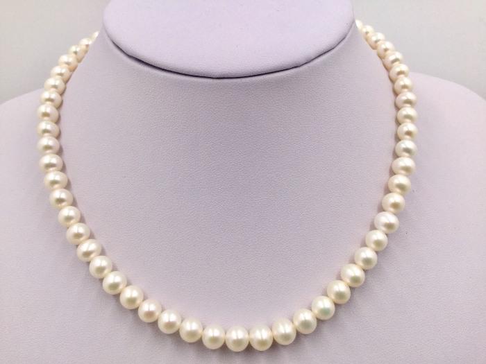 真珠直徑7.0~7.5mm 天然淡水珠 珍珠項鍊 珍珠潤滑 慛燦奪目皮光閃耀 顆顆精選 $2000