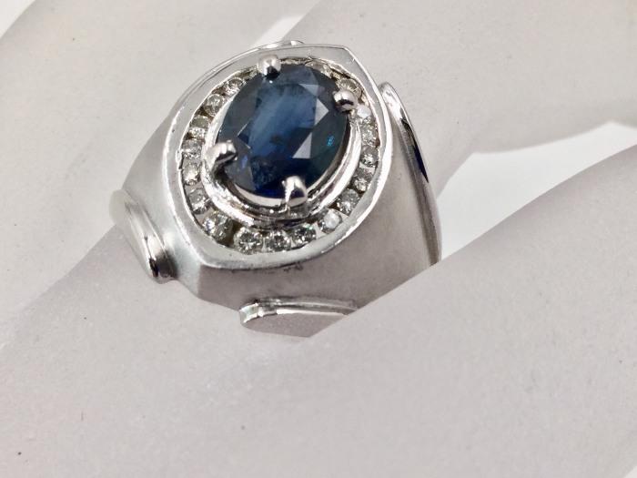 天然無燒 緬甸藍寶 鑽戒 主石1.19克拉 配鑽 20P合計約0.50克拉配鑽 750白K金戒台 $12000