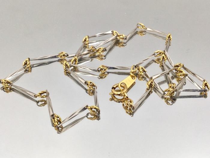 造型 設計款 雙金雙色 項鍊 18K金/PT850 鉑金 白金 重量 1.70錢 45CM