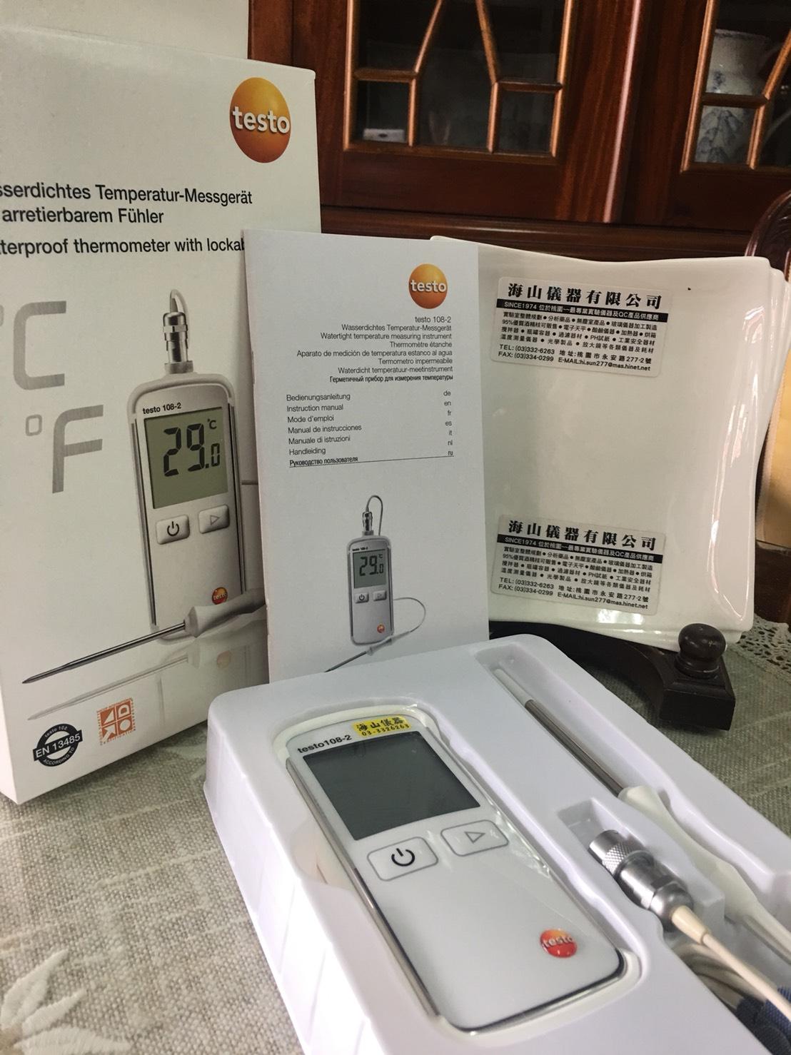 溫度計 防水食品-108 2 附原廠出廠報告  TESTO-海山儀器