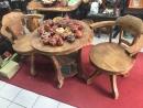 老櫸木桌椅一組(360度可旋轉)