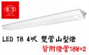 旭光 LED T8 4呎 山型燈/雙管