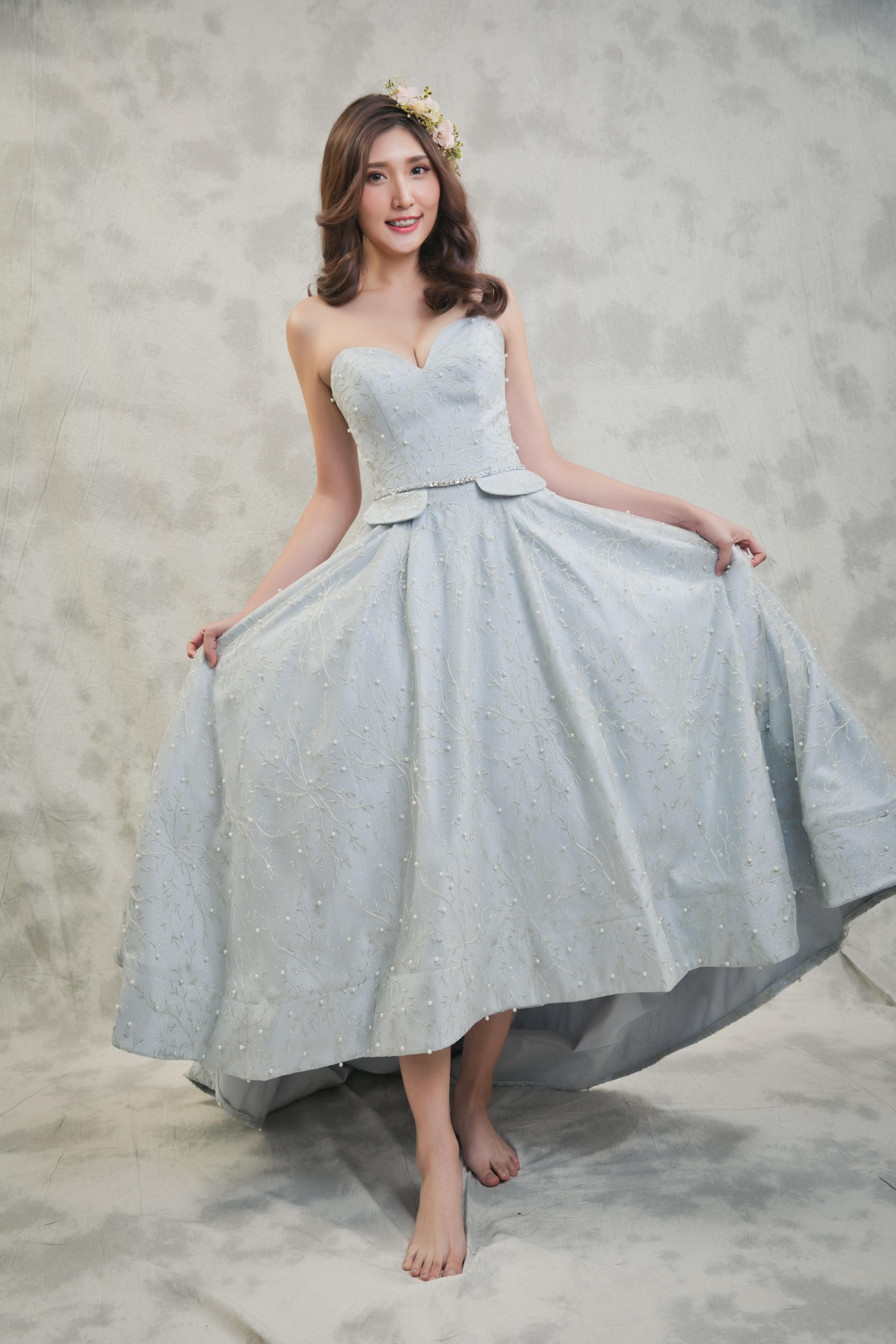 莫迪藍色磁扣珍珠蕾絲九分裙