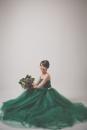 綠色桃心領蓬裙