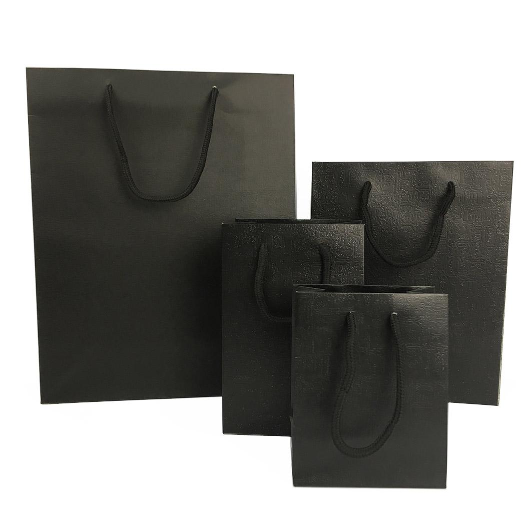 B84 黑色壓紋棉把手提紙袋