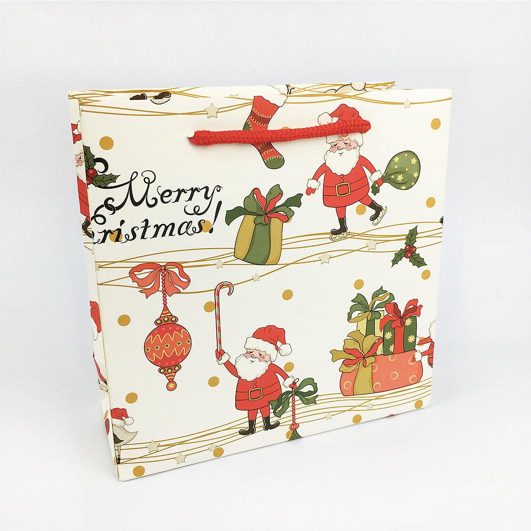 XM10 耶誕系列棉把手提紙袋-卡通歡樂耶誕