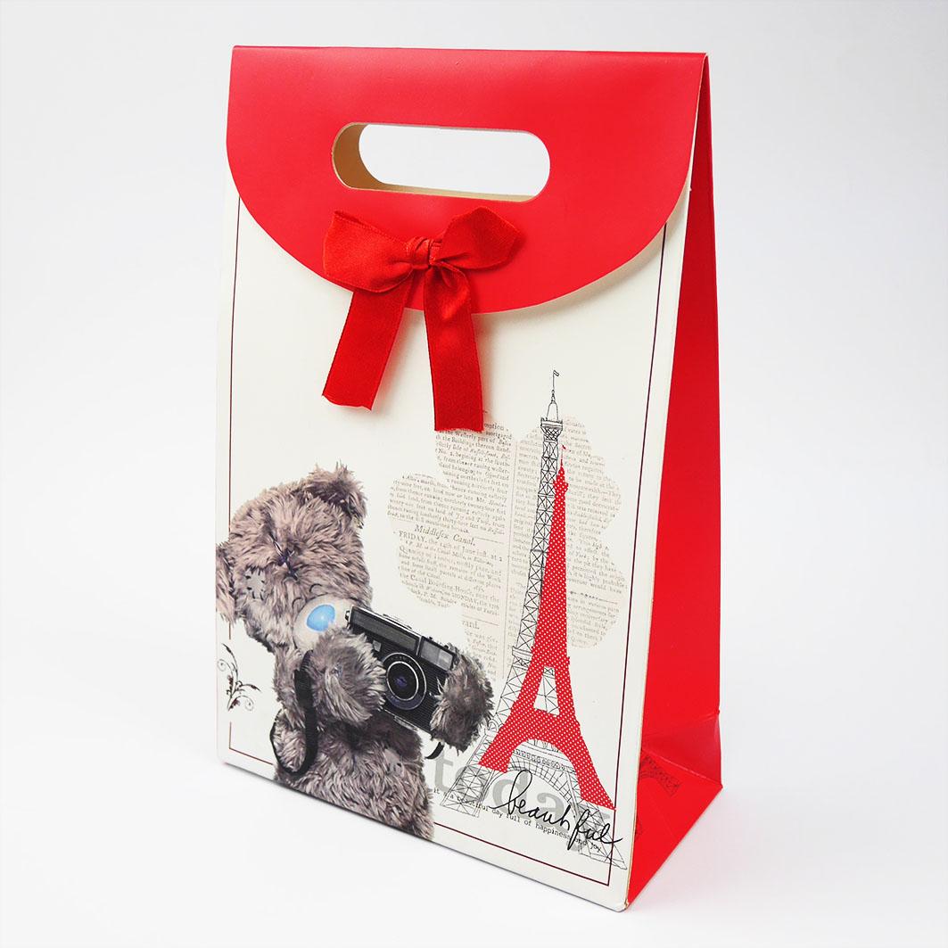 B211 打洞禮品袋-紅色巴黎泰迪熊