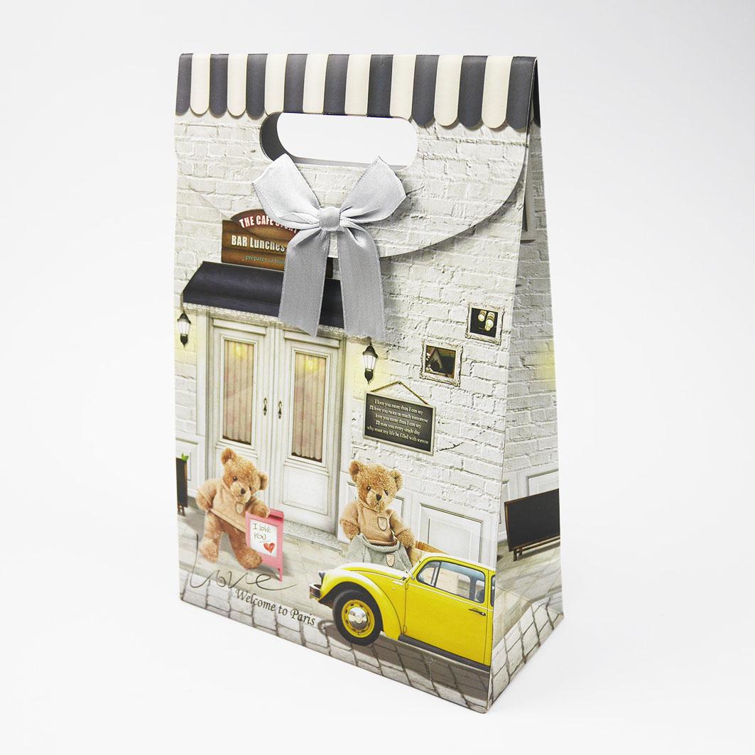 B214 打洞禮品袋-黃色汽車泰迪熊