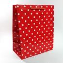 B6 防水紙袋-5A寬底紅底白點紙袋