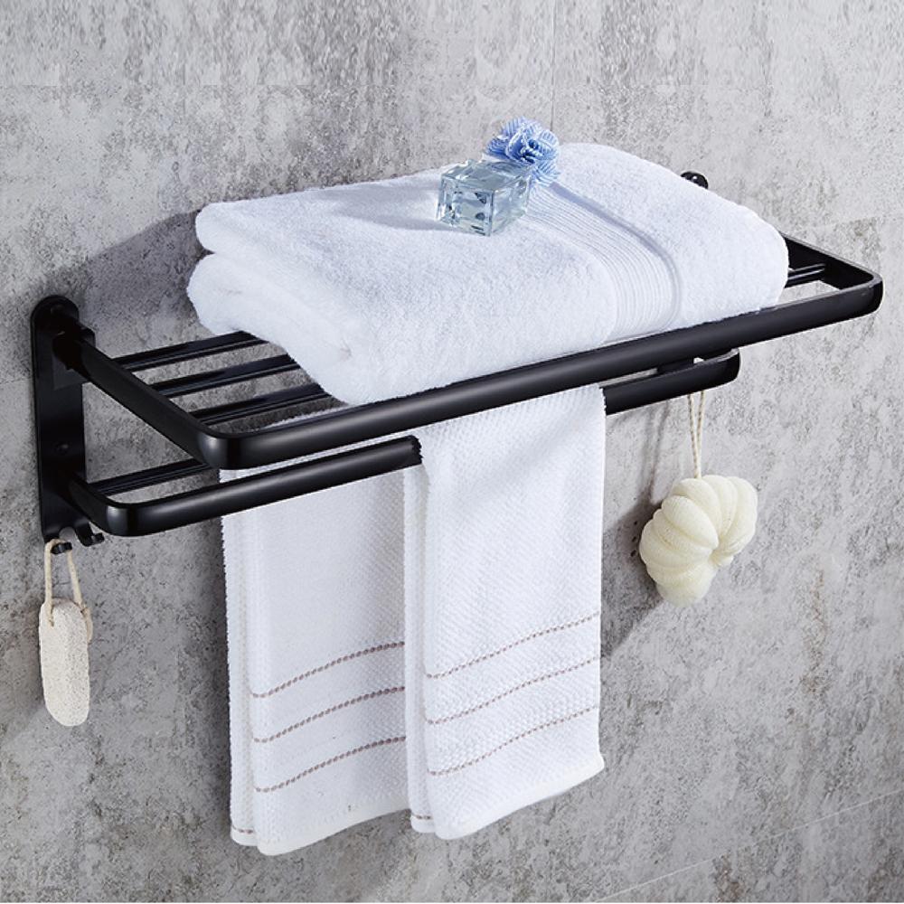 EC081 浴室浴巾置物架 雙桿毛巾架 浴室毛巾架 太空鋁置物架 現代黑浴巾架
