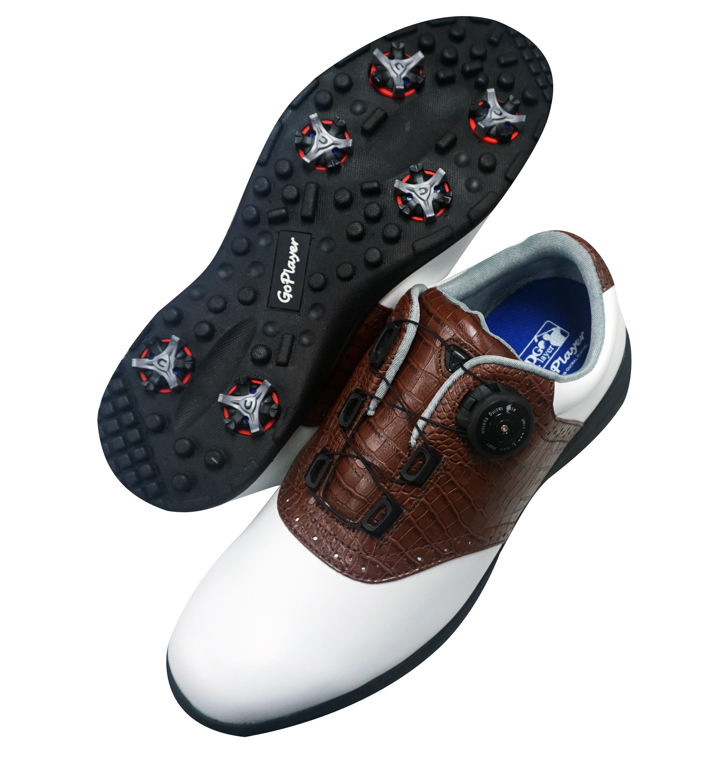 GP輕量有釘旋紐鞋(白配褐)GSH1020