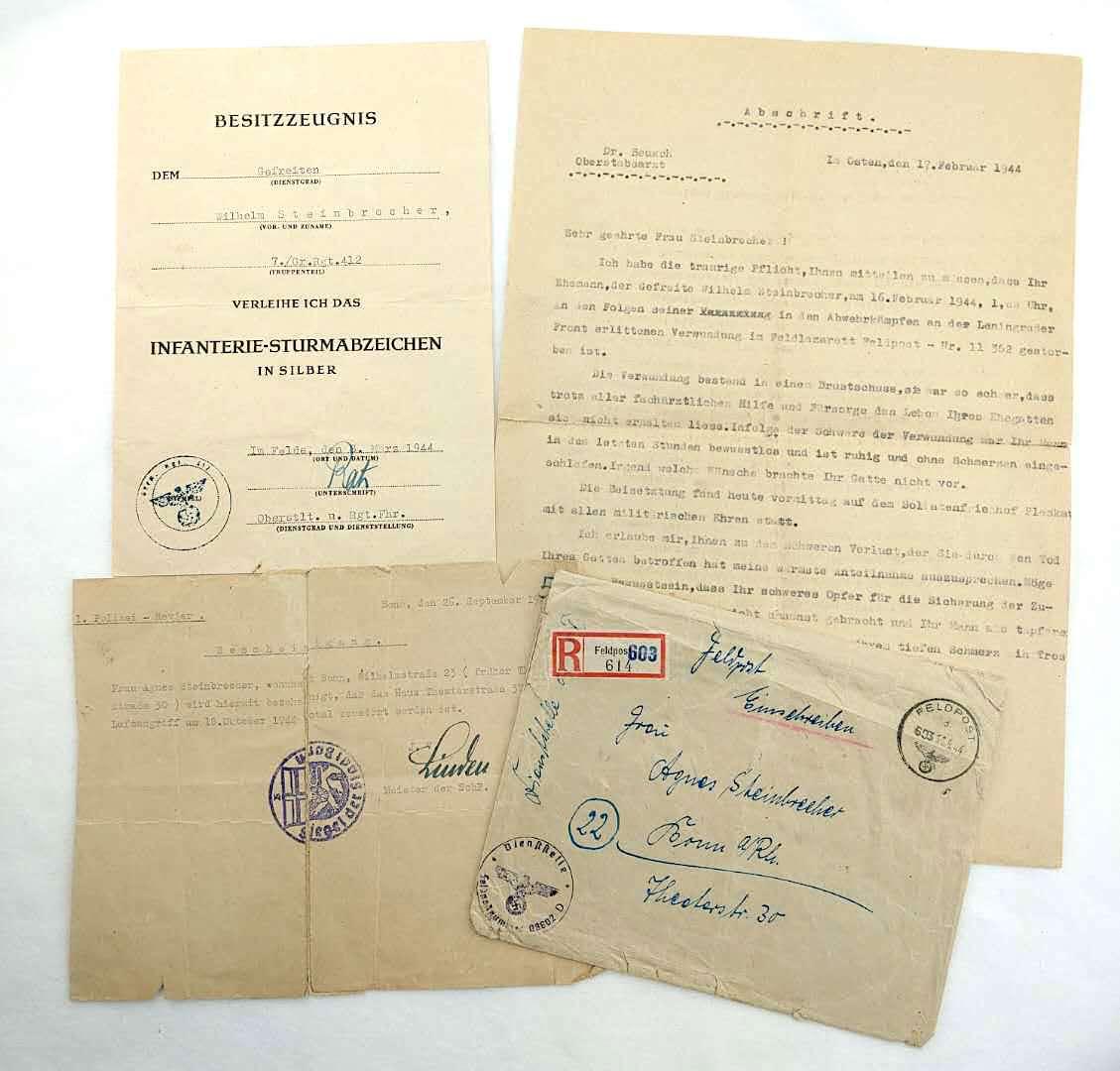 二戰德軍銀級步兵突擊章證書以及陣亡通知書以及寄送信封套組。