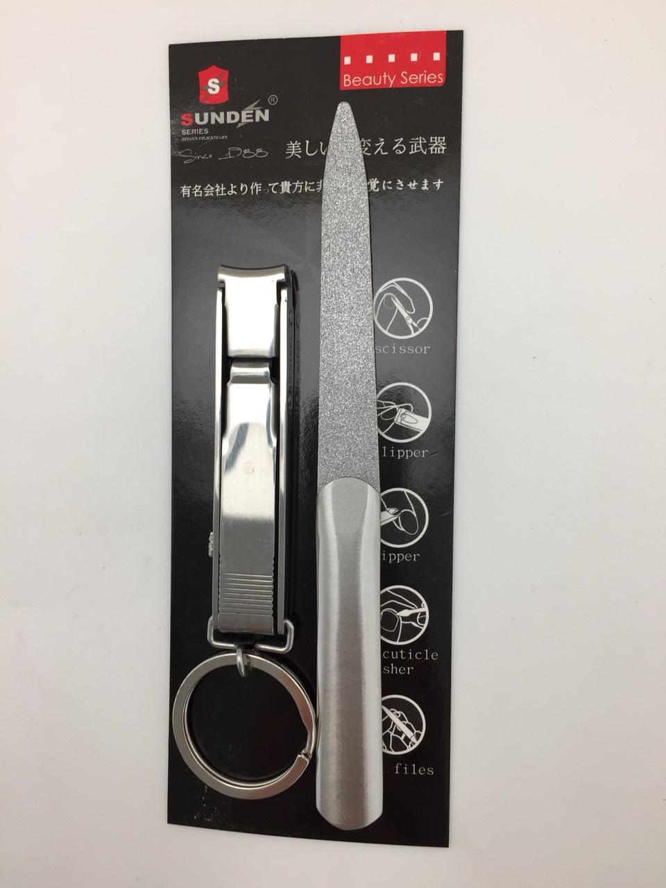 不銹鋼銼刀(噴砂)+收納式指甲剪