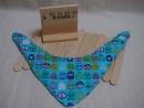 nino手作 預購款 藍色 滿版交通車 三角口水巾 圍兜 日本二重紗