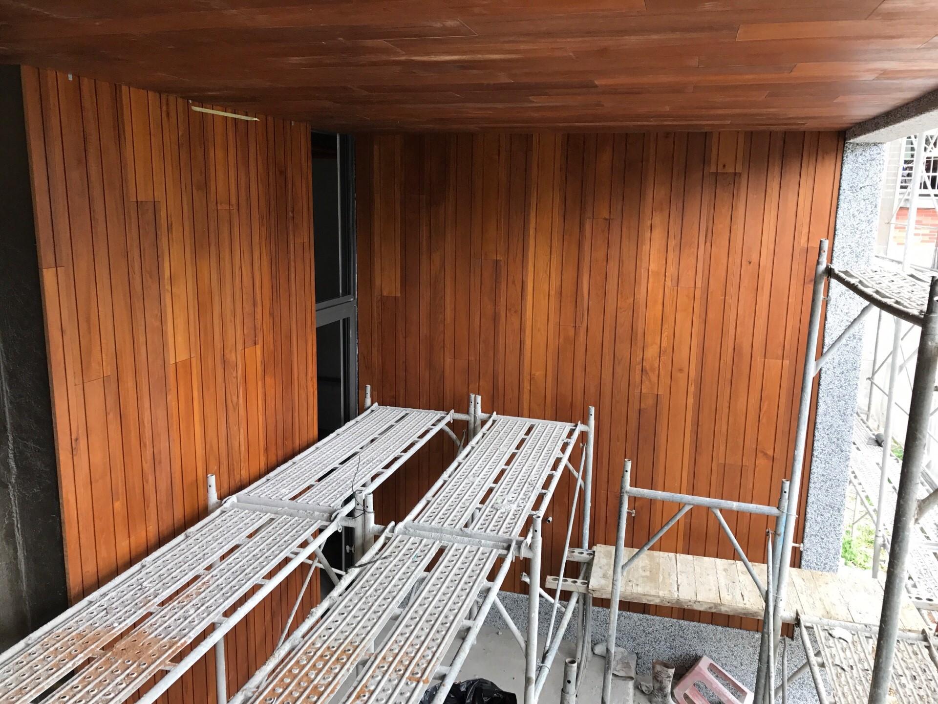 緬甸柚木實木牆面施工