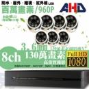 【高雄/台南/屏東監視器】八路七鏡 半球型 6LED 套裝DIY組