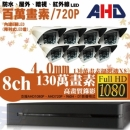 【高雄/台南/屏東監視器】八路八鏡 戶外型 6LED 套裝DIY組