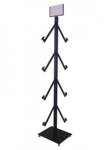 BK-003 橢圓管立柱輪胎架含LOGO框(黑色)
