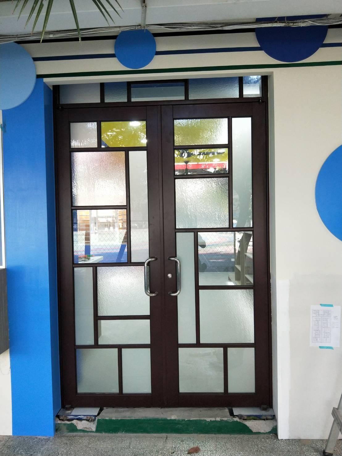 噴砂玻璃、壓花玻璃組合門組