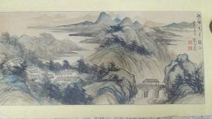 劉伯農,(山水畫),橫幅,水墨畫作品