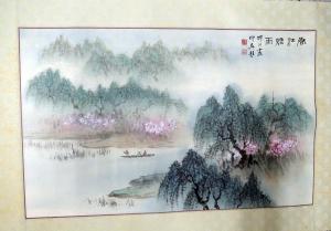 戴埤圳畫,匡仲英題,春江煙雨,水墨畫作品