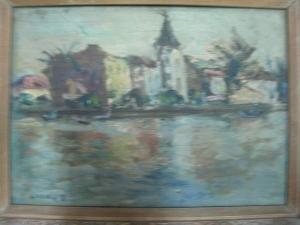張萬傳(風景木板畫)尺寸4號, 水彩畫作品