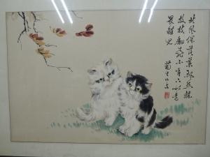 孫菊生,雙貓,設色水墨畫作品