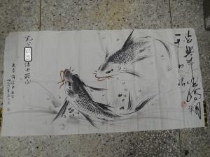 許海欽,雙魚圖,設色水墨畫作品