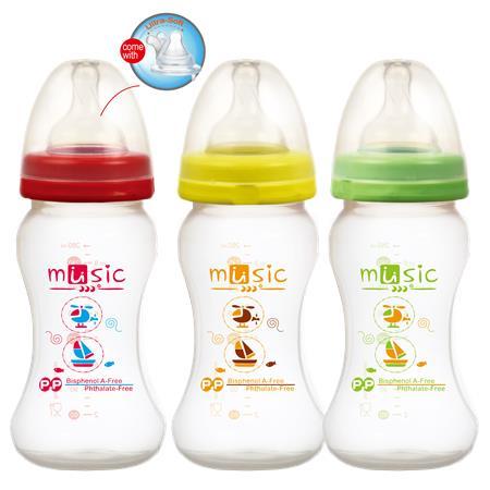PP寬口防脹氣母乳實感奶瓶 260ml (09931)