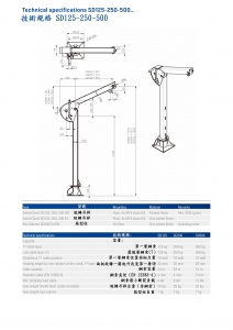 5-2.技術規格SD125-250-500 . Technical specifications SD125-250-500.
