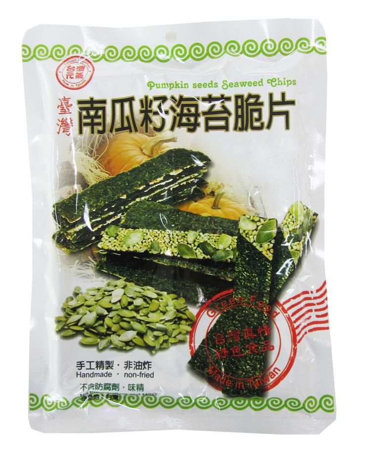 臺旺 - 南瓜籽海苔脆片-原味南瓜籽 (40公克 / 20片裝 / 單包)