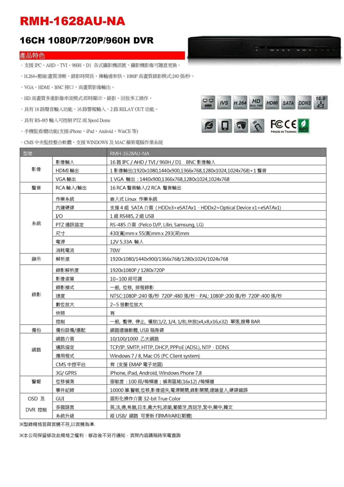 RMH-1628AU-NA 16路監視器主機