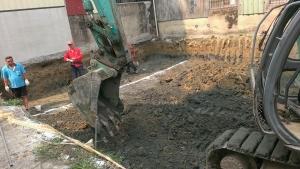大仁街挖基礎開挖