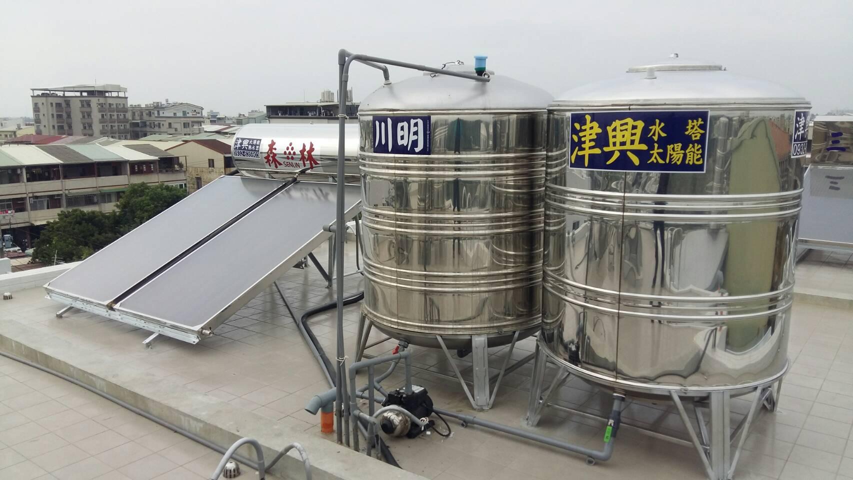 台南安南區(白樹)-森林太陽能熱水器二片一桶(335公升)+2T防震型水塔